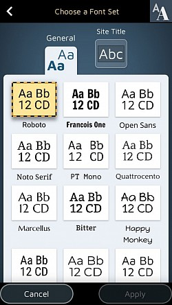 Select among 18 Google fonts wich one will be used for your texts