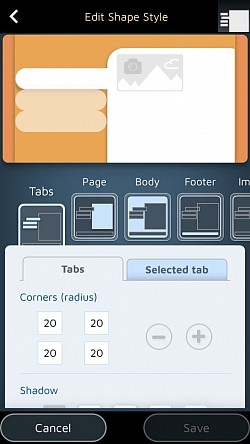 Design the shapes of your tabs and pages.